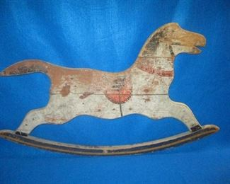 Old Painted panel to a wood rocking horse