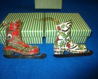 Pr of Smithsonian Ice Skate Christmas Ornaments