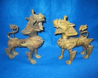 Pr of Bronze Tibetan Foo Dogs