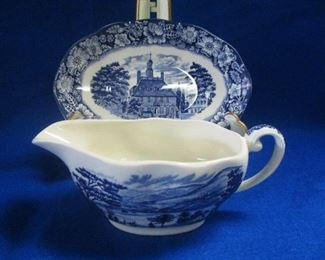Liberty Blue Gravy Boal and Underplate