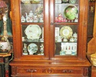 Renaissance Revival Walnut Victorian Butlers Secretary Desk