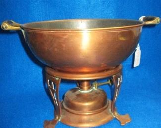 Jos Heinrich Copper Chaffing Dish Bowl with stand and burner