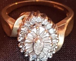 high quality 14k  diamond cocktail ring