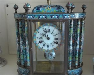 vintage cloisonne mantle clock