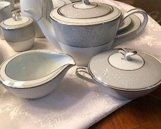 "Lots of serving pieces for the Noritake set. ""Damask"" pattern"