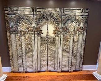 Six panel folding screen