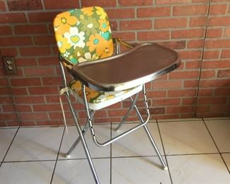 Mid Century Vintage folding high chair 50's Prop YELLOW , ORANGE, GREEN FUNKY DESIGN Collectible CHROME