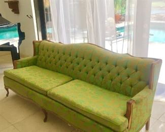 French Settee light green and gold leaf accent details on the fabrick