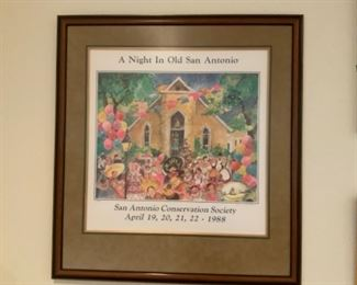 A Night in Old  San Antonio San Antonio Conservation Society April 19-22, 1988 Framed Picture
