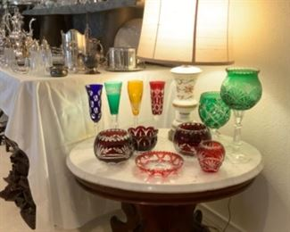 Lovely Colored Cut Crystal Atop Victorian Marble Top Parlor Table