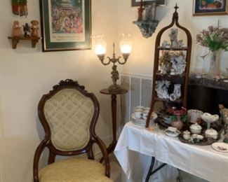 Victorian Arm Accent Chair, Bombay Company Pedestal Table, & Vintage Brass Double Figural Lamp