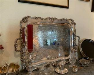 Vintage WSB 135 Silver Plate Platter-Gorgeous, Heavy, & Ornate