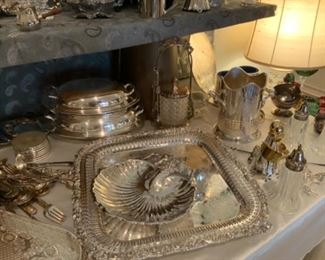 Webster Wilcox IS International Silver Co. 3228 Reticulated Silver Plate Platter & Reed & Barton Silver Plate Seashell