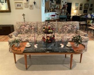 Hadley ???Coffee Table, Belleek , & Upholstered Floral Sofa