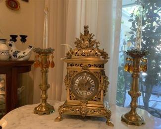 Heavy Ornate Bronze D Eigenmann Nuremberg Mantel Clock