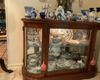 Glass Display Cabinet Is NOT FOR SALE, Meissen Blue Onion China