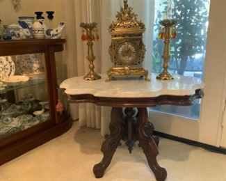 Victorian Marble Top Parlor Accent Table