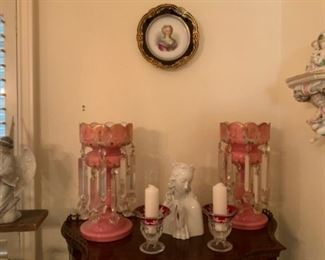 Pair of Antique Pink Cased Glass Mantel Luster Candle Holders With Prisms & Wien Made In Austria Virgin Mary