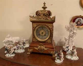 Antique French Bronze & Wood S. Marti et CIE Medaille Mantel Clock
