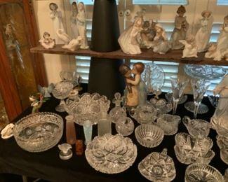Antique Cut Glass Crystal, Lalique, & Sabino