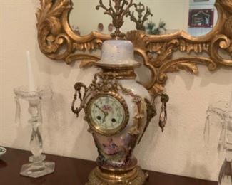 Antique French Bronze & Enamel Clock