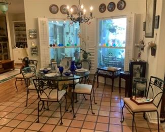 Wrought Iron & Beveled Glass Table & Chairs