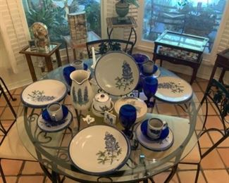 Bluebonnet Dishes by Louisville Stoneware-Nice & Heavy
