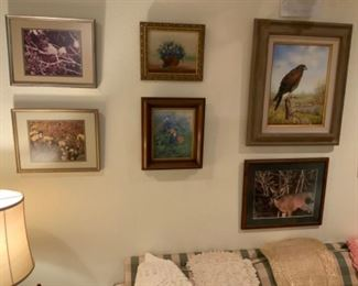 Darla Duncan Royal Bluebonnet & Indian Paintbrush Painting & Rhea Lea Bird Painting