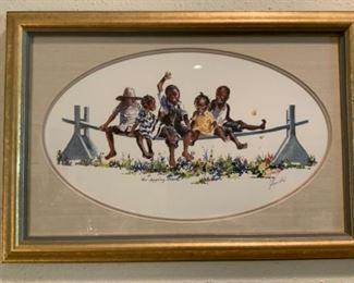 "Virginia Fouche' Bolton Print entitled ""The Joggling Board"""