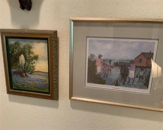 "Santa Duran Yucca Painting & Raul Garllard 533/1950 ""Crabbing"" Picture"