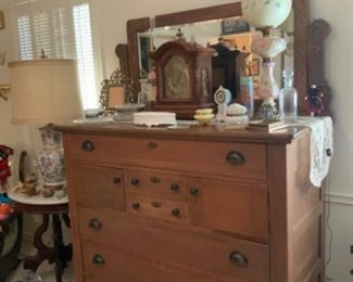 Unique Oak Dresser with Beveled Mirror