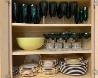 "Americana ""Cherub"" Dishes by Omnibus & Pyrex Yellow Mixing Bowl"