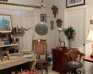 Antique Oak Office Desk With Cast Iron Base