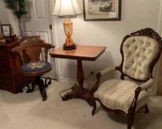 Antique Victorian Parlor Chair & Orange Cut Crystal Lamp