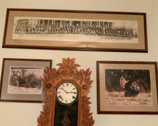 Laurel No. 3  Wm. L. Gilbert Clock Co. Mantel Clock & Old Black & White Photo With Emblem Film Service United San Antonio, Texas with Signatures of Those In The Photo