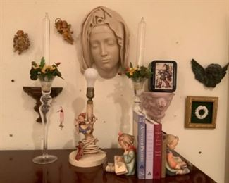 Hummel Bookends & Head of The Virgin from Vatican Collections 1989 MMA-Made of Cold Cast Marble