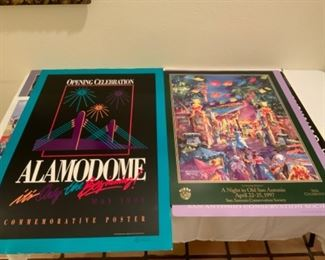 """Signed Alamodome Commemorative Poster & """"A Night in San Antonio"""" signed Janet Campbell Poster"""
