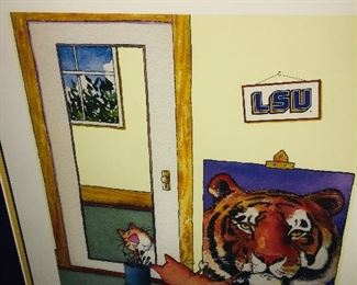 print of tiny kitten painting himself as a big LSU tiger (so cute)