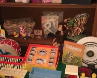 vintage toys  and Steiff rabbits