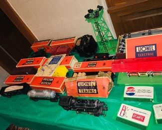 large Lionel train set in boxes