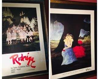 2 framed and signed George a Rodrigue prints.