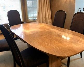 Vintage Marble top Dining table - opens from center to reveal leaves