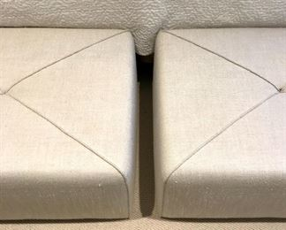 ARTEFACTO  PAIR PUFF ARTIC II OTTOMANS LINEN WITH FRENCH STITCHING   Was $1200 Now $750 Cyber Monday $575