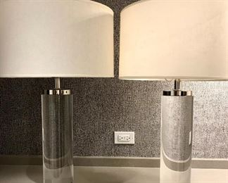 RH PAIR CYLINDRICAL COLUMN CRYSTAL/NICKEL FINISH  TABLE LAMPS    SOLD