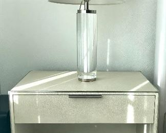 RH SAUNDERSON SHAGREEN PAIR NIGHTSTANDS  DOVE/POLISHED NICKEL SOLD