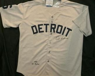 Al Kaline Autograph Beckett witnessed old time replica jersey