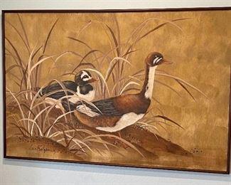 Huge Lee Reynolds 2 Ducks Painting41x61x1.5inHxWxD