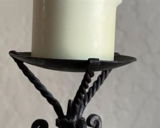 Artist Made Forged Iron Candle Stand18x7x7inHxWxD