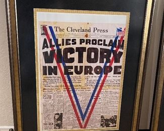 Cleveland Press Victory Framed Print33x26in
