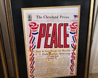 Cleveland Press Peace Framed Print33x26in